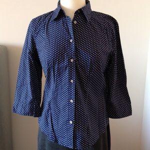GH Bass & Co Navy Polka Dot Shirt